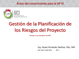Gestión de la Planificación de los Riesgos del Proyecto