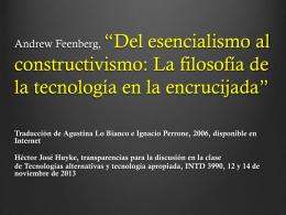 Andrew Feenberg, *Del esencialismo al constructivismo: La filosofía