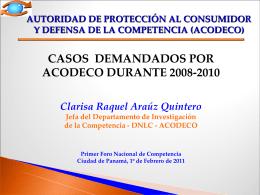 Casos Demandados por.. - Autoridad de Protección al Consumidor