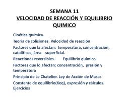 SEMANA 11 VELOCIDAD DE REACCIÓN Y