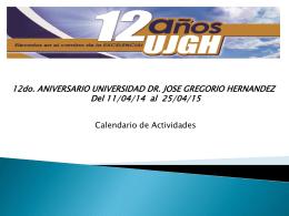 calendario DECIMO se.. - Universidad Dr. José Gregorio Hernández