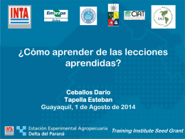 ¿Cómo aprender de las lecciones aprendidas? Darío Ceballos, INTA.