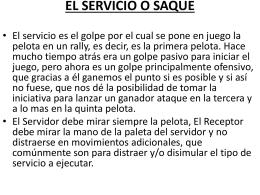 EL SERVICIO O SAQUE