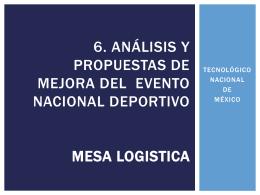 6. Análisis y propuestas de mejora del Evento Nacional Deportivo