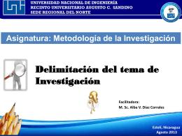 Delimitación del Tema de investigación