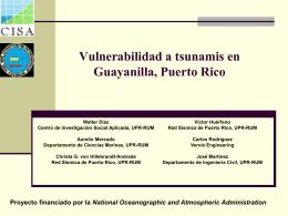 Vulnerabilidad a Tsunami - Red Sísmica de Puerto Rico