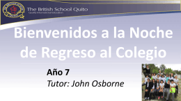 Bienvenido! - British School Quito Blogs Sites