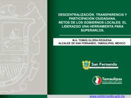 Descentralización, Transparencia y Participación Ciudadana, Retos
