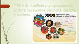 TEMA 4.- Análisis y propuestas de mejora del Festival Nacional de