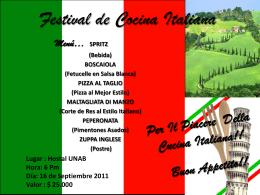 Festival de Cocina Italiana - Intra-UNAB