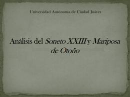 Análisis del Soneto XXIII y Mariposa de Otoño