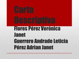 Carta Descriptiva Flores Pérez Verónica Janet Guerrero Andrade