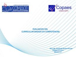 EVALUACION DEL CURRICULUM BASADO EN COMPETENCIAS