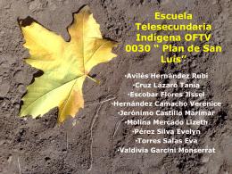 Escuela Telesecundaria Indígena OFTV 0030 * Plan de San Luis*