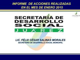Actividades de la Secretaria de Desarrollo Social Enero 2015