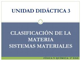 unidad didáctica 3. clasificación de la materia. sistemas materiales