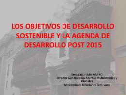 los objetivos de desarrollo sostenible y la agenda