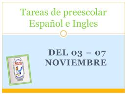 Tareas de preescolar Español e Ingles