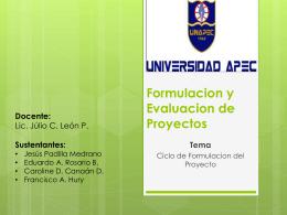 Ciclo de Formulacion del Proyecto