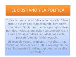 EL CRISTIANO Y LA POLITICA - IGLESIA DE CRISTO MATEO 16