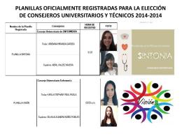 Planillas Oficialmente Registradas 2014-2015
