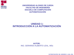 Automatización - Ing. Gerardo Alberto Leal, MSc