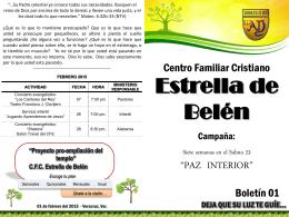 Paz interior boletin 1 - CFC Estrella de Belen