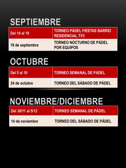 18 de septiembre TORNEO NOCTURNO DE PÁDEL POR EQUIPOS