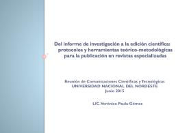 Del informe de investigación a la edición científica: protocolos y