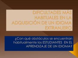 Dificultades en el aprendizaje del español