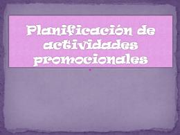 Planificación de actividades promocionales