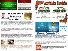 December 14 2014 Bulletin - Iglesia Bautista Puerta La Hermosa
