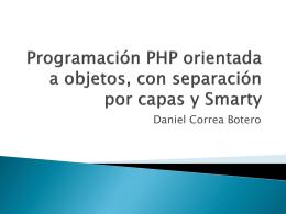 Programación PHP orientada a objetos, con separación por capas y