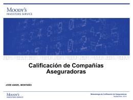 Calificación de Compañías Aseguradoras