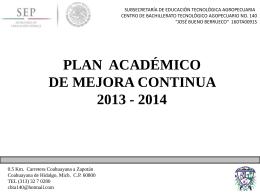 plan académico de mejora continua 2013 - 2014