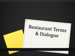 Restaurant Terms & Dialogue
