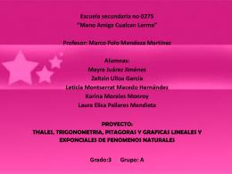 TEOREMA DE TALES, PITAGORAS Y TRIGONOMETRIA