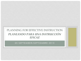 Planning for Effective Instruction Planeando para