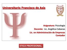 etica profesional - Lic. Angélica Cabanas