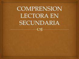 COMPRENSION LECTORA EN SECUNDARIA
