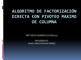 algoritmo de factorización directa con pivoteo maximo de columna