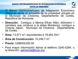 Área - Banco Centroamericano de Integración Económica