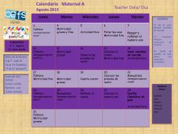 Calendarios de Actividades Calendario de Actividades