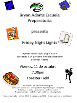 Bryan Adams Escuela Preparatoria presenta Friday Night Lights