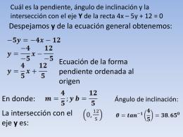 Cuál es la pendiente y la intersección con el eje Y de la recta 4x * 5y