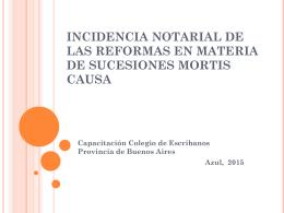 Incidencia notarial de las reformas en materia de sucesiones mortis