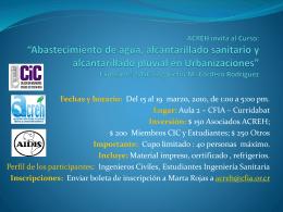 ACREH invita al Curso: *Diseño básico de Agua Potable, Aguas