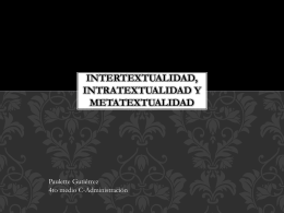 Intertextualidad, intratextualidad y metatextualidad