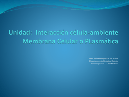 Interacción célula-ambiente Membrana Celular o