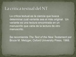 La crítica textual del NT - Seminario Reformado Guadalajara